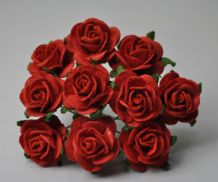 RED ROSES (2.5 cm) Mulberry Paper Roses (Previously known as 3.0 cm)